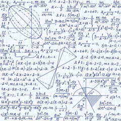 Math educational vector seamless pattern with formulas, figures and equations, handwritten on grid copybook paper