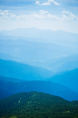 Blue mountains in Ukraine Carpathians