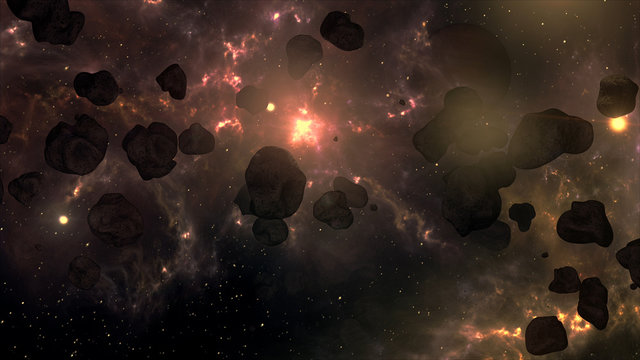 A Very Spectacular and Cinematic Asteroid Field in Outer Space G