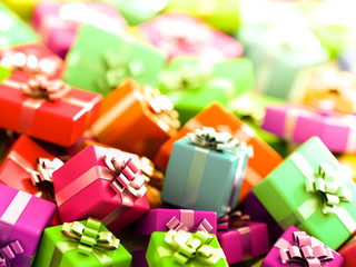 Gift boxes horizontal 3d rendering background