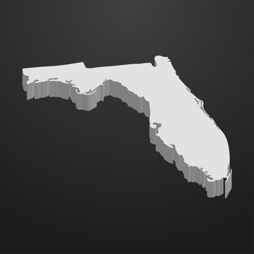 Florida State map in gray on a black background 3d