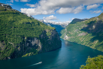 Cruise liner at Geiranger fjord, Norway.