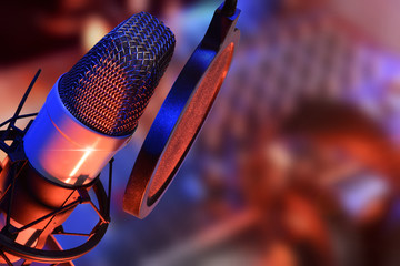 Studio microphone with headphones live production