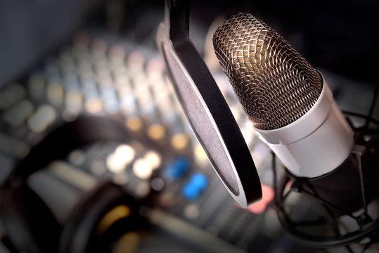 Recording equipment in studio
