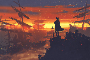 pirate standing on treasure pile against ruined ships at sunset,illustration painting