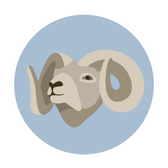 ram head vector illustration style Flat