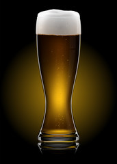 Beer glass on dark background. EPS10