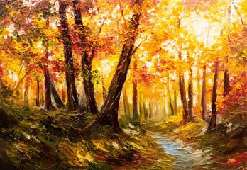 Garden Poster Honey Oil painting landscape - autumn forest near the river, orange leaves