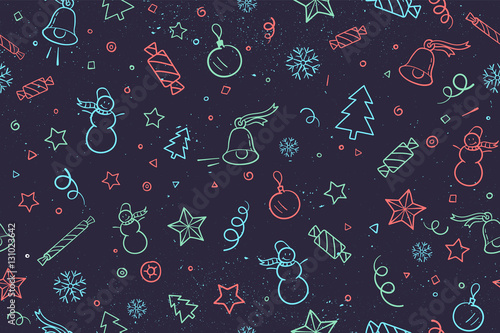 seamless pattern for christmas and happy new year theme classic hand drawn elements on