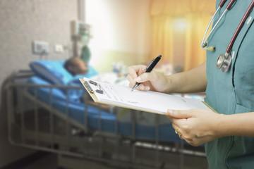 female doctor,surgeon,nurse,pharmacy with stethoscope on hospita