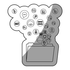 File cloud computing and media icon set. Multimedia storage and technology theme. Isolated design. Vector illustration