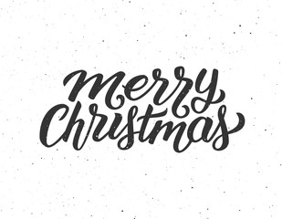 Merry Christmas calligraphic text on white textured background. Vector illustration for Xmas with season greetings.