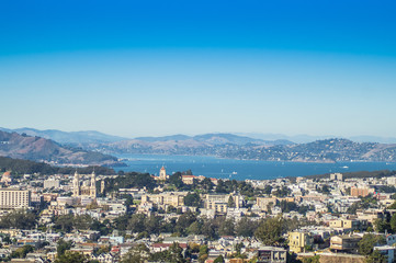 A view of San Francisco  and  San Francisco bay from Tween Peaks, Usa.