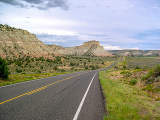 Road trip in U.S.A. with mountains view