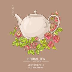 rose tea vector illustration