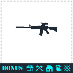 Assault carbine icon flat