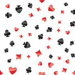 Playing cards suits seamless pattern. Random placed heart, diamond, club, spade on white vector background. Gambling repeating texture.