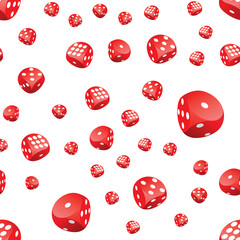 Seamless pattern of red gambling dices in motion randomly placed on white background. Adobe Illustrator EPS8 file.