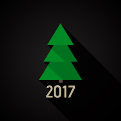 New Year 2017. Vector fir-tree icon.