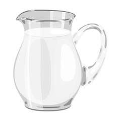 Glass jug of milk icon in monochrome style isolated on white background. Milk product and sweet symbol stock vector illustration.