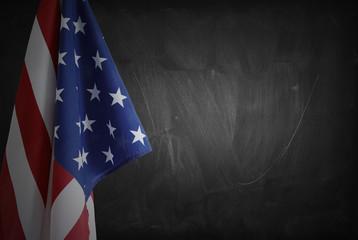 Flag on blackboard