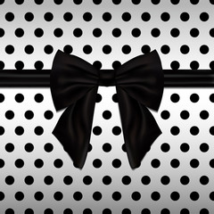 Black decorative bow Vector illustration Shiny satin black bow on white background with black polka dots Realistic style