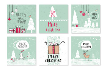 Set of 6 cute Christmas gift cards with quote Merry Christmas, merry and bright, warm wishes, magic moments. Easy editable template. Vector.