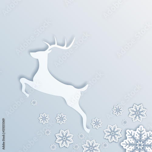 Christmas Deer Vector Illustration White Deer Jumping And Leaving A