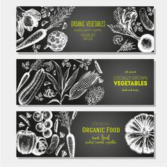 Set of banners with hand-drawn vegetables. Vector illustration for vegetables market. Horizontal banner collection. Vintage elements for design.