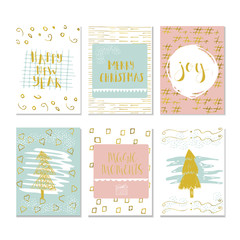 Set of 6 Christmas and Happy New Year greeting cards with handwritten brush lettering and decorative elements. Vector illustration for winter invitations, cards, posters and flyers.