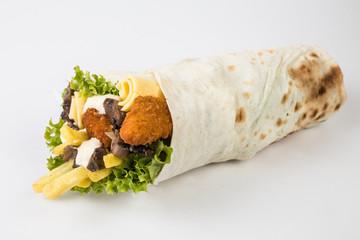 wrap sandwich on white background