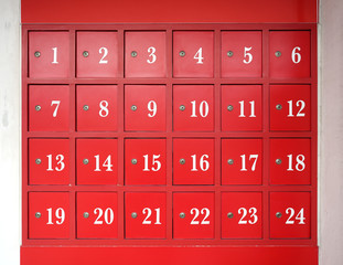 24 red post boxes with locks advent calendar