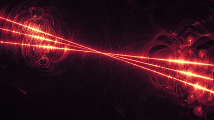 glowing red curved lines over dark Abstract Background space universe. Illustration