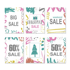 Set of 6 creative sale holiday website banner templates. Christmas and New Year hand drawn illustrations for social media banners, posters, email and newsletter designs, ads, promotional material.