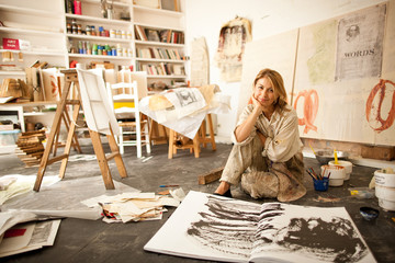 Portrait of an Artist in her studio