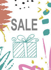 Creative sale holiday website banner template. Christmas and New Year hand drawn illustrations for social media banners, posters, email and newsletter designs, ads, promotional material.