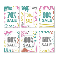 Set of 6 discount cards design. Can be used for social media sale website, banners, posters, flyers, email, newsletter, ads, promotional material. Mobile banner templates.