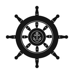 Wooden ship steering wheel icon in black style isolated on white background. Pirates symbol stock vector illustration.