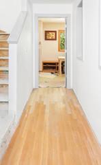 Patched hardwood floor in hallway