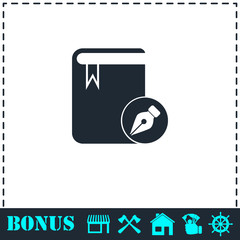 Book write icon flat
