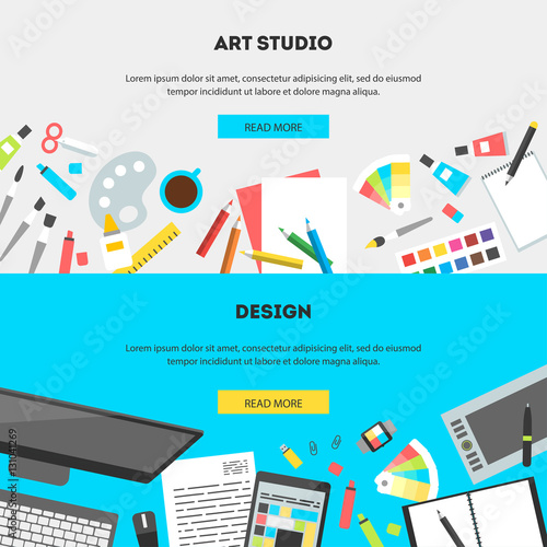 ... studio. The office of a creative worker. Flat style and color for web