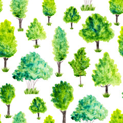 Seamless pattern with watercolor green trees and grass. Nature b
