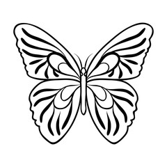 Butterfly icon in outline style isolated on white background. Insects symbol stock vector illustration.