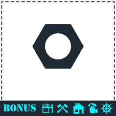 Hex nut icon flat
