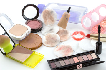 Removing makeup , accessories to make-up remover.