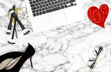 Notebook accessories office desk red heart decoration flat lay
