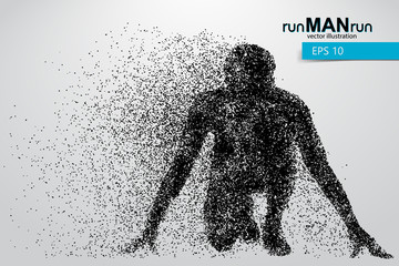 Silhouette of a running man from particles.