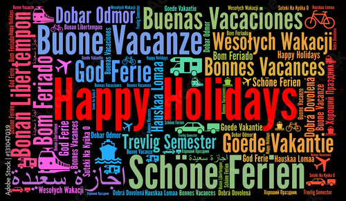 quothappy holidays word cloud in different languagesquot stock