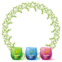Round frame in shape of Christmas garland and lighted candle