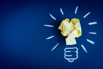 concept idea inspiration with lamp dark background top view